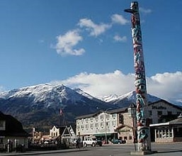 Jasper is located in the Rocky Mountains between Edmonton Alberta and Kamloops British Columbia in West Canada. National Park, hiking, fishing, climbing, skiing, canoeing, information.