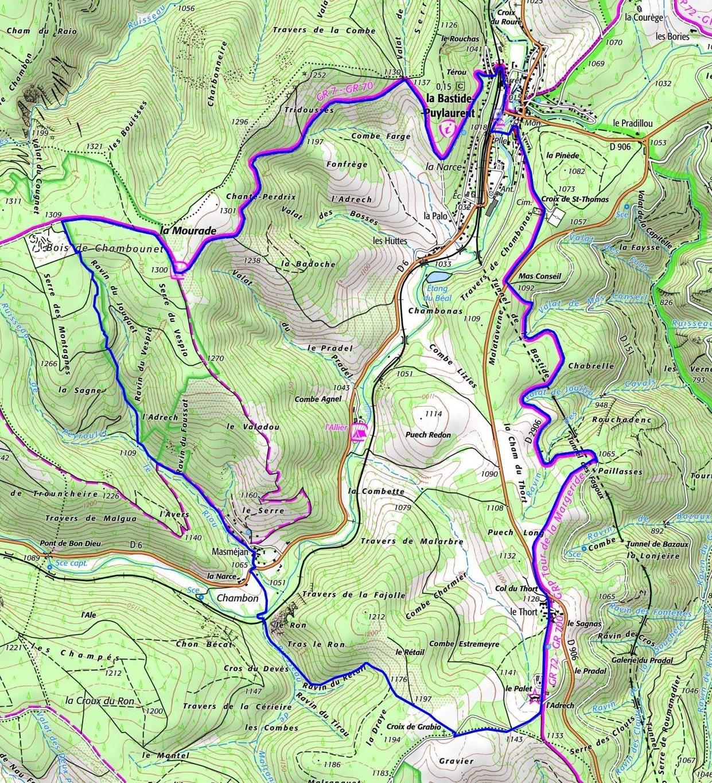 洛泽尔省拉巴斯蒂德皮伊洛朗14,5公里徒步路线