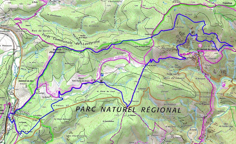 20km hike at La Bastide-Puylaurent in Lozere