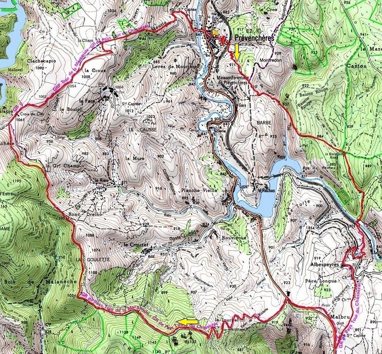 洛泽尔省Prevencheres 16,6公里的徒步路线