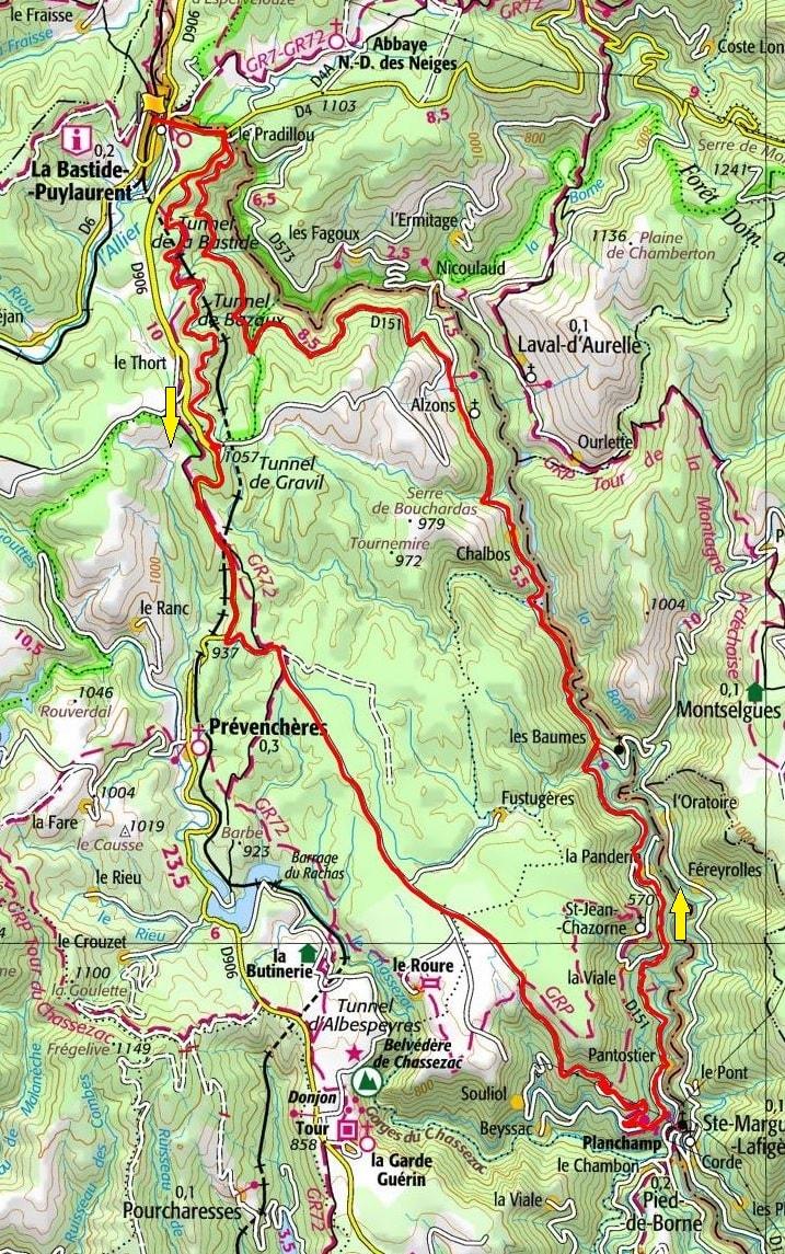 Circuit en vélo de 41,5km à La Bastide-Puylaurent en Lozère
