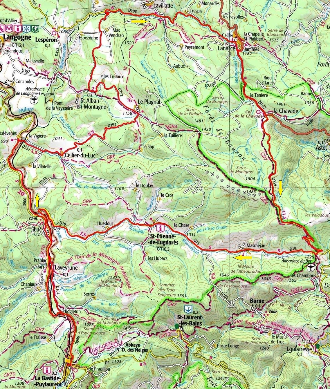 Circuit en vélo de 74km à La Bastide-Puylaurent en Lozère